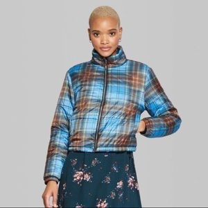 Wild Fable NWT Blue Crop Puffer Jacket Plaid Blue